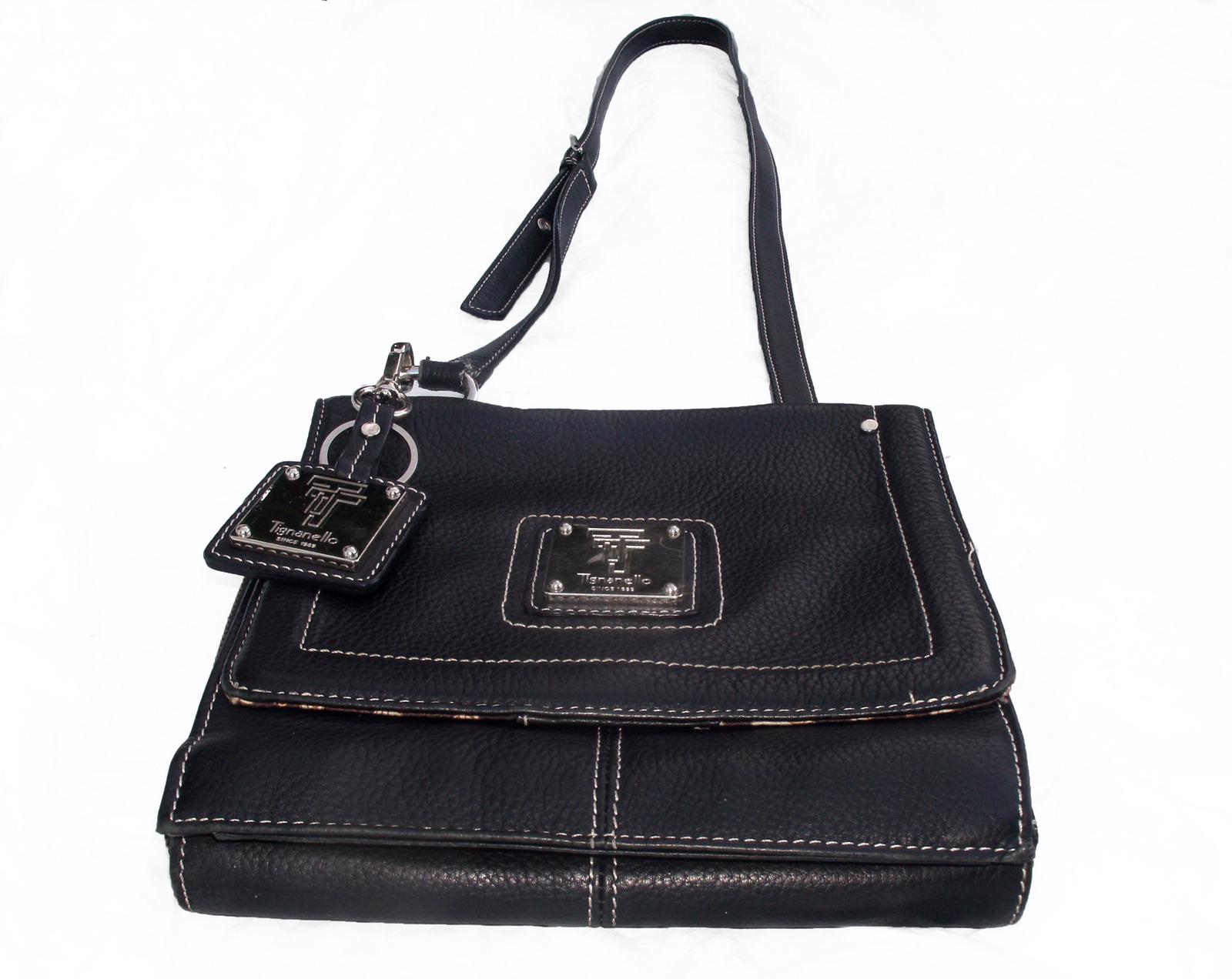 Tignanello Black Pebbled Leather Organizer Crossbody built in Wallet image 9