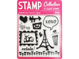 American Crafts Oolala Heart You Clear Stamp Set #59094