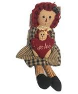 "Raggedy Ann Holding Heart ""I love Andy"" Doll Plush Stuffed Animal Soft T... - $59.99"