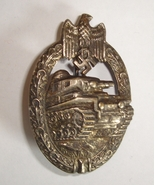 WW2 original German Panzer tank badge hollowback version - $105.00
