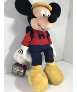 "Walt Disney's MICKEY MOUSE 18"" PLUSH With BACKPACK & LUNCHBOX- Off To Sc... - $24.74"