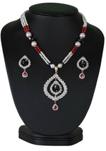 DESIGNER FASHION BEADED NECKLACE WITH SIMULATED STONES CZ PENDANT LADIES... - $30.68