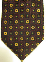 NEW Ermenegildo Zegna Golden Flowers on Brown With Green Highlights Tie - $74.53