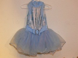Light Blue Dance Dress Leotard Tutu Skirt Ballet Costume Girls Size SC  - $10.00