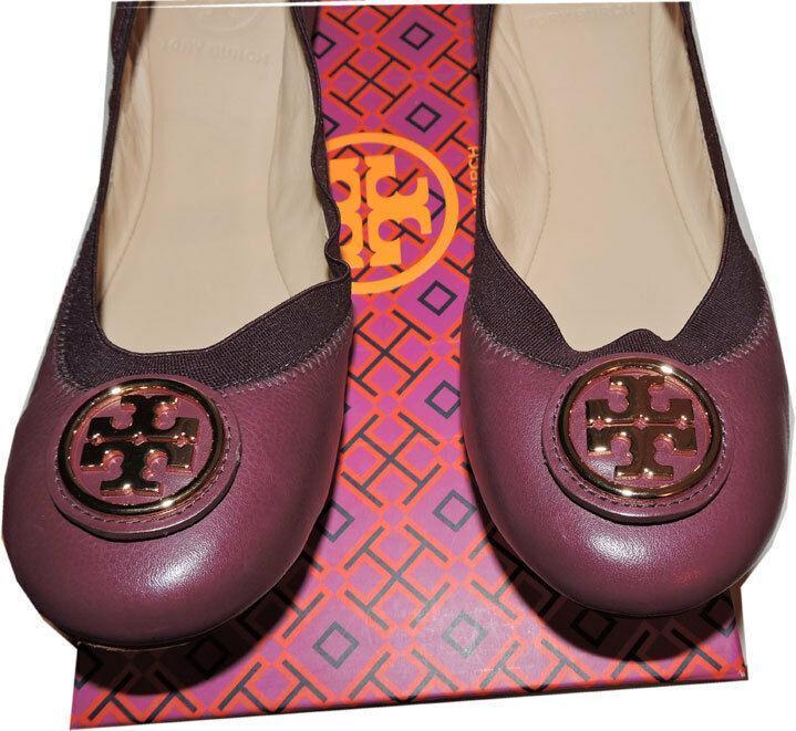 94ad0a965703 Tory Burch Caroline Elastic Trim Ballerina Burgundy leather Ballet Flats  Shoes 7 -  149.00