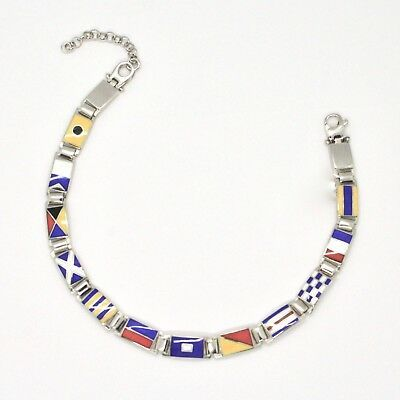 Silver 925 Bracelet Rhodium with Flags Nautical Glazed Tiles Made in Italy