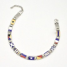 Silver 925 Bracelet Rhodium with Flags Nautical Glazed Tiles Made in Italy image 1