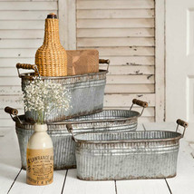 Set 3 Rustic Bins with Wood Handles in Distressed Tin - $58.00