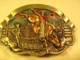Belt Buckle RODEO 1981 Bergamot Brass Works BULL RIDER [Y115] - $19.20