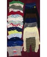 Boys SZ 0-6 Mos Mix Match Lot 15 Bodysuits 8 Pants 2 Sleepers 1 Shirt 1 ... - $17.81