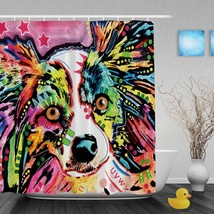 Colorful Pitbull Dog Waterproof Shower Curtain Lovely Animal Bathroom Curtains H - $44.35