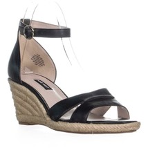 Nine West Jeranna Wedge Heel Espadrilles Sandals, Black Leather, 9.5 US - $32.63