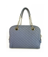 Dolce & Gabbana D&G Large Lily Glam Blue 5 zip Diamond Quilted Canvas Ba... - $257.40