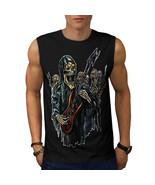 Guitar Metal Badass Skull Tee Skull Show Men Sleeveless T-shirt - $12.99