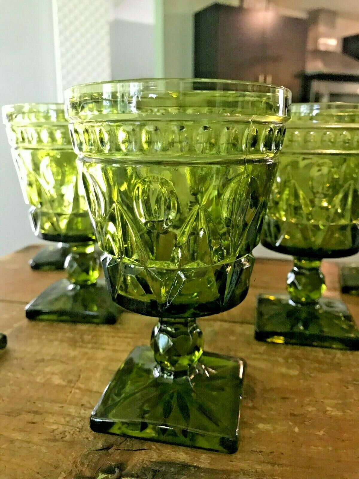 """8 x 70s MCM Colony Park Lane Green Depression Glass Footed Water Goblets 5 3/8"""" - $77.39"""