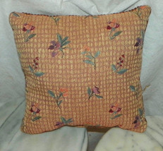 Blue Pink Flower Decorative Print Throw Pillow  12 x 12 - $14.95