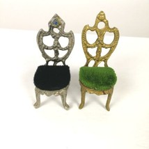 Pincushion Chairs Metal Textile  Lot 2 Small Gold Silver Padded Seats Vi... - $39.99