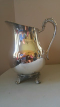 Vintage EB Rogers Silver-plated pitcher Acanthus leaf feet w/Ice Guard 1883 - $38.60