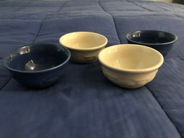 SET OF 4 LONGABERGER BLUE & WHITE SMALL DESERT BOWLS - $38.60