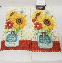 "SET OF 2 SAME PRINTED KITCHEN TOWELS (14"" x 24"") SUNFLOWERS, LIVE SIMPLY... - $11.87"