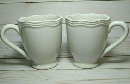 2 Lenox French Perle Bead White Mugs, Pair, Footed Coffee Tea Cups,12 oz... - $19.79