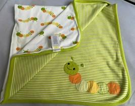 Gymboree Caterpillar 100% Cotton Baby Blanket Green White Stripes CLEAN ... - $38.65