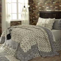 3-pc King - ELYSEE Quilt Shams Set - Black, Grey Creme Fleur de Lis - VHC Brands