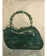 TIMMY WOODS Carved Wooden Bag w/ Tumbled Turquoise Bead Top Handle - $247.39