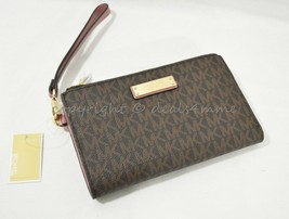 NWT Michael Kors Double Zip Wallet/Wristlet in Signature Brown and Rose ... - $99.00
