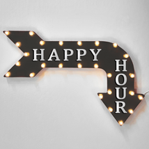 """36"""" HAPPY HOUR Curved Arrow Sign Light Up Metal Marquee Vintage Pub Bar ... - $155.93+"""
