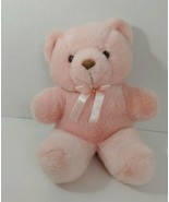 Flowers Inc Balloons pink plush teddy bear brown nose pink ribbon bow - $19.79