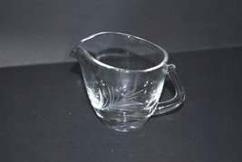 Vintage Fostoria Glass Creamer with Decorative Cut Glass Flower - $5.89