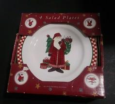 "DEBBIE MUMM SAKURA MAGIC OF SANTA  FOUR 8 1/8"" SALAD Dessert PLATES 1996 - $15.43"