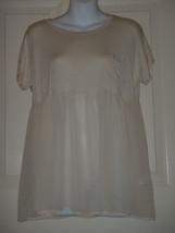 Haute Society Ivory Chiffon Blouse Womens BOHO Size SMALL S - $23.12