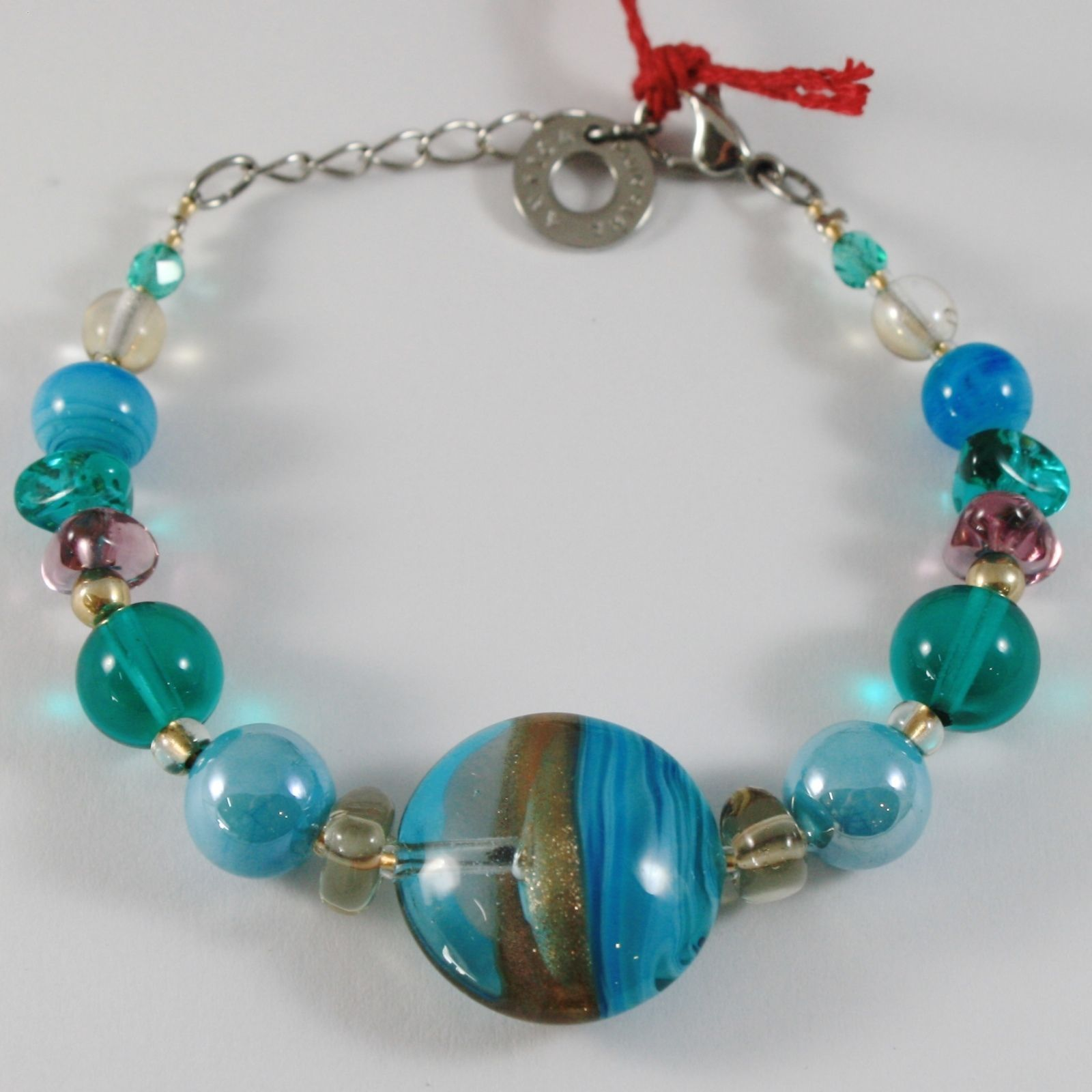 ANTICA MURRINA VENEZIA NIAGARA BRACELET BLUE GREEN TURQUOISE FINELY STRIPED DISC