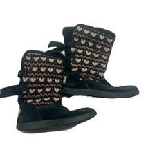 UGG Girls Size 2 Black Heart Knotty Fair Isle Knit Boots 1010347 - Knit ... - $23.38