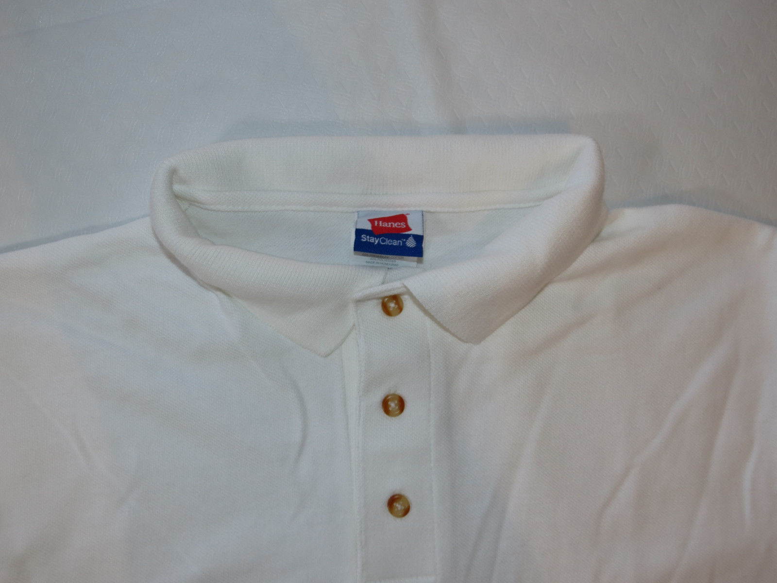 Hanes Stay Clean adult small S 34-36 mens White short sleeve polo shirt NOS