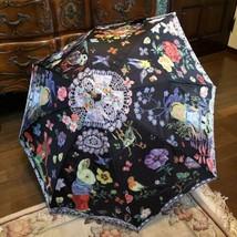Nathalie Lete Alice Rain Umbrella Black Light Purple Rabbits Art From Ja... - $269.99