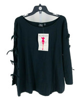 Women with Control Women's Black Bow Sleeve Knit Top Size 2X Plus NEW - $24.75