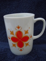 Vintage Creative Fine China Retro Orange Flower Mug No.9 - $3.99