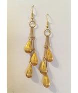 3 Tier Earrings Gold Metal Tear Drop Beads Handmade Pierced Dangle OOAK ... - €26,15 EUR