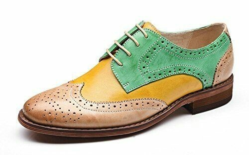 Handmade Men's Multi Colors Wing Tip Brogues Dress/Formal Oxford Leather Shoes