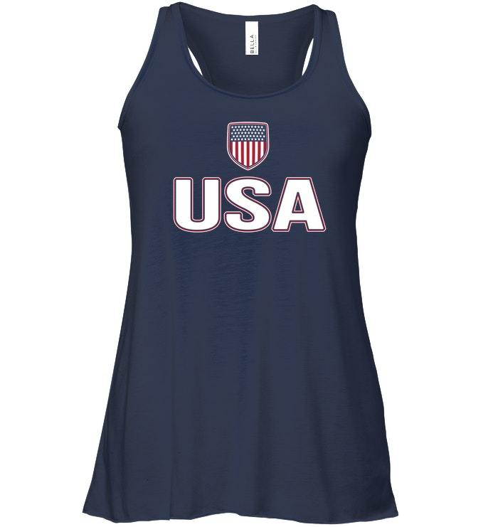 USA Red White Blue Flowy Racerback Tank American Flag Us Classic image 2