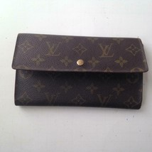 Louis Vuitton Brown Mono Sarah,Tri-Fold Long Wallet 7.5inx4in (MI0922) - $213.70