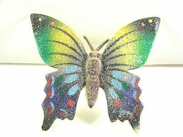 Colorful Vintage Butterfly Pin with Granular Sugar Like Coating Finish - $15.29