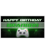 Video Gamer Personalized xBox Birthday Banner Party Backdrop - $22.28