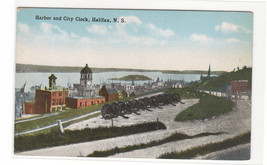 Harbor Panorama City Clock Halifax Nova Scotia Canada 1910c postcard - $6.44