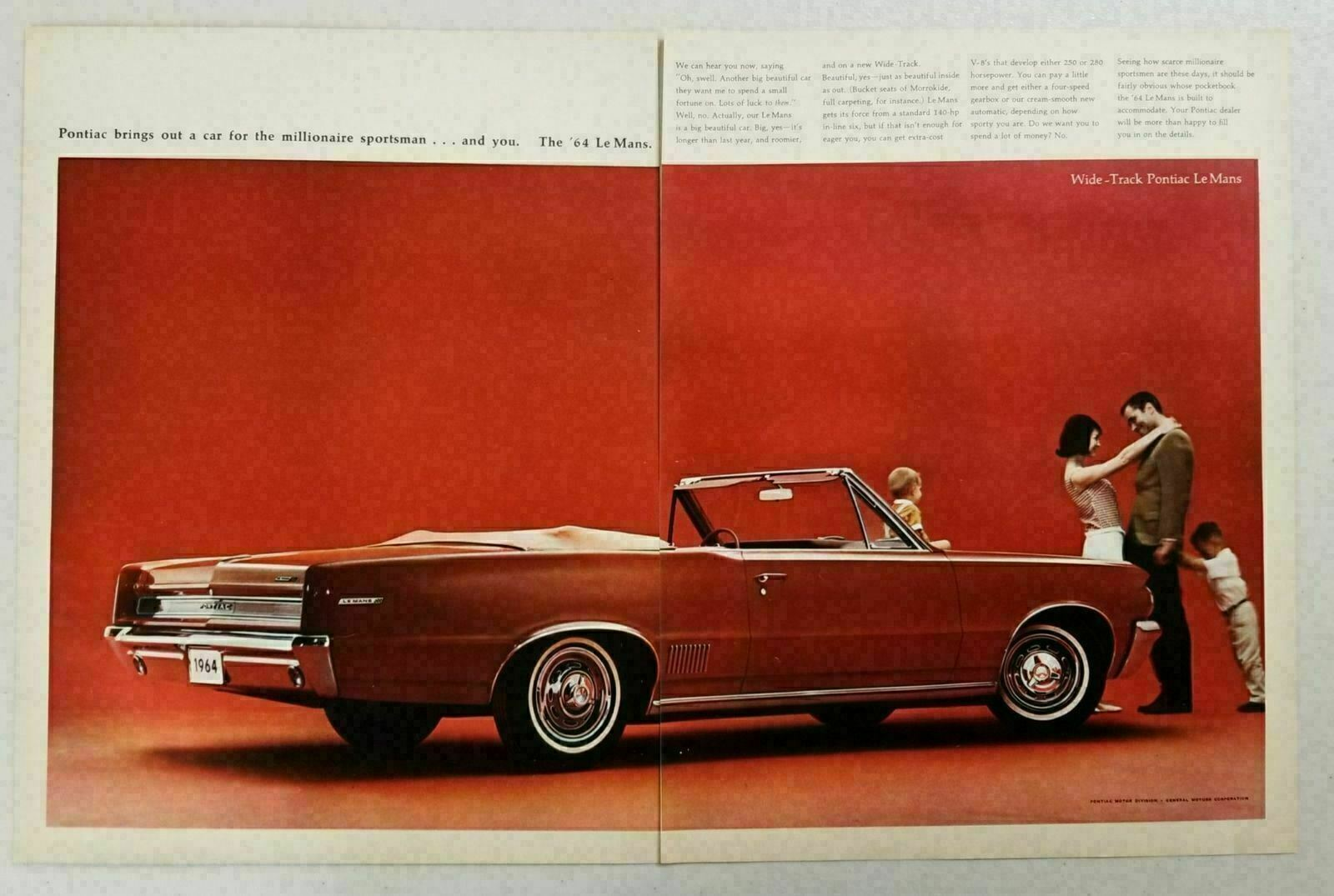 Primary image for 1964 Print Ad '64 Pontiac Le Mans Convertible Happy Family