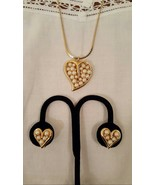 Pearl Cluster and Crystal Heart Shaped Vintage Jewelry Set  - $20.00