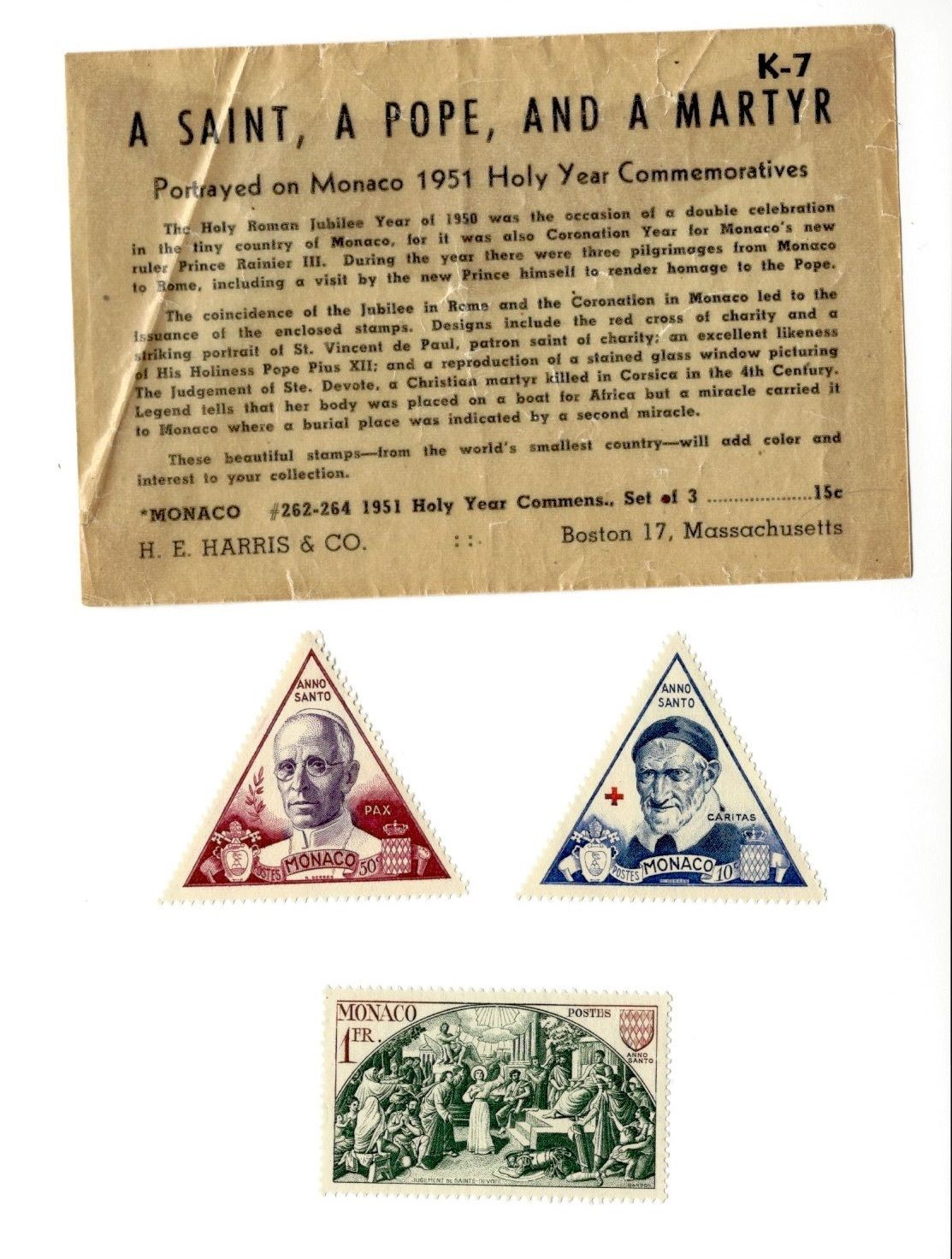 Monaco 1951 Holy Year Commemoratives Stamp Set Saint Pope Martyr 3x H E Harris